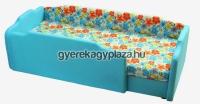 R65 - Türkiz-virág, normál /BALOS/ +dupla szivacs +3 cm támla magasítás